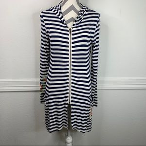 Soft Surroundings Embroidered Striped Print Hoodie
